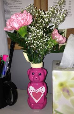 #DIY Flower Vase using an empty Sue Bee Honey squeeze bear bottle