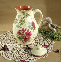 """Купить """"Шиповник"""", кувшин для напитков - Керамика, пищевая керамика, кувшин…"""