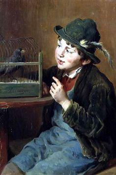 """The Pet Bird"" -- Felix Schlesinger (1833 – 1910, German)"
