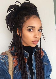 Awesome Box Braids Hairstyles: Top Knot Box Braids More