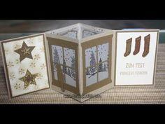 Anleitung zur Lichter Karte mit Produkten von Stampin´UP! Stempel Fröhliche Stunden, Festive Fireplace Thinlits Formen Trautes Heim