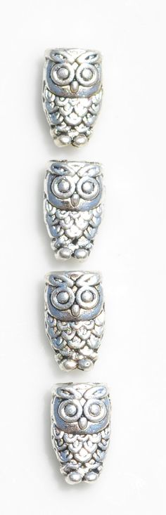 10 Antique Silver 10mm Owl Beads BD153 by LorettasBeads on Etsy
