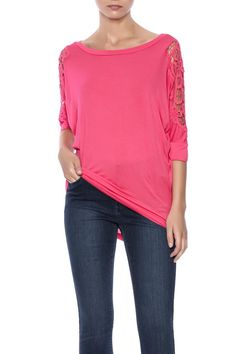 3/4 length sleeve top with beautiful lace cutout detail.   Fuchsia Lace Sleeve Top by Leshop. Clothing - Tops - Long Sleeve Clothing - Tops - Tunics Arizona