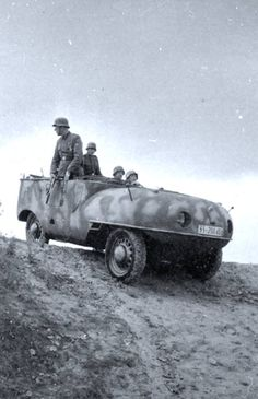 A very unique vehicle used by German troops. Looks amphibious...