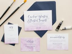 Modern Invitations with Ombre Watercolor Dip Dye by BanterandCharm
