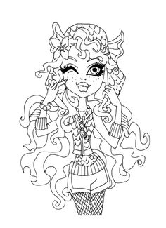 Lagoona Blue And Fish Coloring Page Monster High Coloring Page