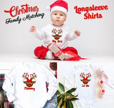 Christmas matching Family Long Sleeve Custom shirts Reindeer, Xmas family Matching pajama shirts from 6 Months Onesie up to Adults by Bachelorettees on Etsy Disney Christmas, Christmas Shirts, Family Christmas, Matching Pajamas, Matching Shirts, Holiday Photos, Holiday Gifts, Pajama Shirt, Family Shirts