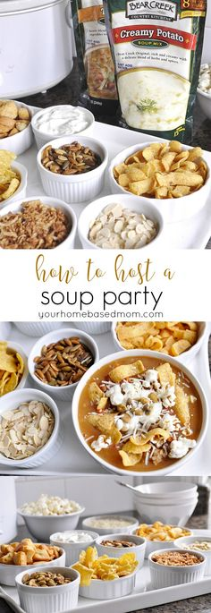 How to Host a Soup Party How to Host a Soup Party from yourhomebasedmom A quick and easy way to entertain BearCreekSoupedUp ad Dessert Party, Party Food Bars, Hamburgers, Soup Bar, Soup Recipes, Cooking Recipes, Recipies, Diy Spring, Planning Menu
