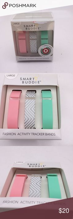 Smart Buddie Fashion activity tracker bands Fashionable fit but bands. Get fit in style. Chevron, mint and bubblegum style bands. Size large. Offers warmly received. Smart Buddie  Accessories