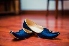Electric blue and gold mojri's for the complete groom attire!
