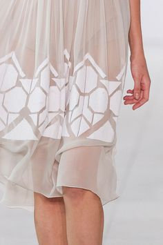 Delicate geometric patterns on sheer, floaty fabric - ethereal fashion; dress details // Jonathan Saunders