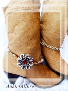 Serious Boot Swag Primitive Flower Boot Chains Red Crystal Fusion Gold Silver Boot Jewelry on Etsy, $36.00