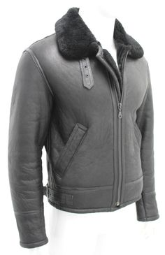Top mens black b3 #shearling #sheepskin #world war 2 leather flying aviator jacke,  View more on the LINK: http://www.zeppy.io/product/gb/2/322265210433/