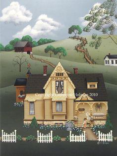 Folk Art Print Fairhill Farm.