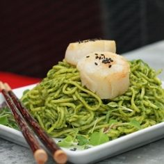 The glorious color of Jade comes from the pureeing of spinach, basil, and cilantro, thus creating an Asian pesto sauce.