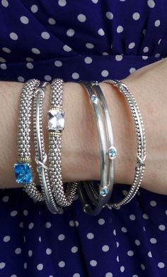 Blue and white topaz beaded bracelets layered with bangles. Love Bracelets, Bangle Bracelets, Bangles, Pearl Jewelry, Gemstone Jewelry, Silver Jewelry, White Topaz, Jewerly, Jewelry Design