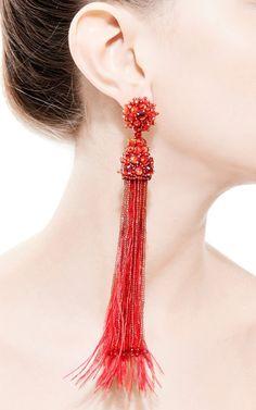 Feather, Beaded and Crystal Clip Earrings in Red by Oscar de la Renta - Moda Operandi