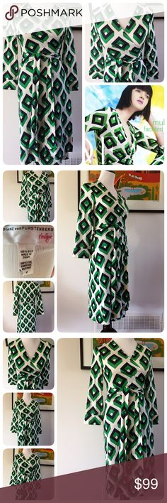 "Diane Von Furstenberg Vintage Wrap Dress Size 10 This is a gorgeous Diane Van Furstenberg Vintage wrap dress size 10. 100% silk material. Julian style D189100V7S. Great condition! Bust is open to any size ( wrap dress is adjustable with belt) dress length 41"" & sleeve length 19.5."" Diane von Furstenberg Dresses Long Sleeve"