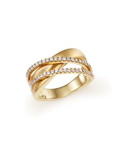 Diamond Crossover Band in 14K Yellow Gold, .35 ct. t.w.