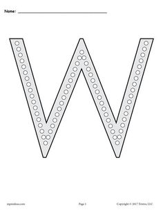 FREE Printable Uppercase Letter W Q-Tip Painting Printables! Letter W worksheets like these are perfect for preschoolers and kindergartners. Practice letter recognition, fine motor skills, and more with our dot painting printables! Get the free letter W coloring pages and alphabet worksheets here --> https://www.mpmschoolsupplies.com/ideas/7830/free-letter-w-q-tip-painting-printables-includes-uppercase-and-lowercase-letter-w-worksheets/