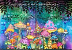 Art journals 412079434654865797 - Artwork by Miranda van den Bosch of Rainbow Designs, created for Copic Europe – showcasing Miranda's gorgeous style and beautiful vibrant colours. Mixed Media Journal, Mixed Media Art, Art Journal Pages, Art Journals, Memory Journal, Art Altéré, Art Carte, Lavinia Stamps, Mushroom Art