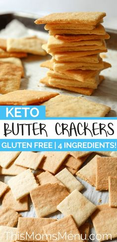 These crackers are the perfect canvas for your favorite dips, spreads and toppings. They are buttery and super flaky plus they come together in a snap with only 4 ingredients! #ketosnacks #ketorecipes #ketocrackers #lowcarbcrackers #lowcarbsnacks #lowcarbrecipes #keto #lowcarb #glutenfree #glutenfreerecipes #glutenfreecrackers #glutenfreesnacks