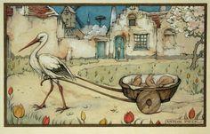 Birth Announcement by Anton Pieck Anton Pieck, Dutch Painters, Dutch Artists, Children's Book Illustration, Vintage Postcards, Illustrators, Fairy Tales, Drawings, Storks
