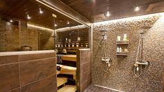 Valaistus on ihan kiva. Sauna Shower, Tub Shower Combo, Shower Tub, Sauna Steam Room, Sauna Room, Basement Sauna, Basement Bathroom, Modern Saunas, Sauna Design