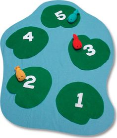 Froggy Hopscotch, an easier and fun alternative to traditional hopscotch. You just need construction paper for lily pads and numbers, poster board or bulletin board paper for water, markers, sand, and a few different colored balloons for fish.