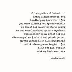 """kaalwoorde on Instagram: """"en toe hardloop my hart vas in jou. #kaalwoorde #kw #afrikaans"""" Afrikaanse Quotes, Love Quotes, Poems, Feelings, Rock, Instagram, Qoutes Of Love, Quotes Love, Poetry"""