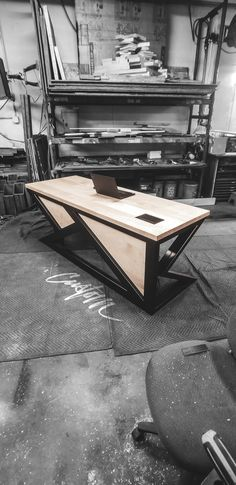 Dream Big × Dare to Fail 🚀 Always pushing the limits with the custom steel frames and bases on o. Office Table Design, Modern Office Design, Office Furniture Design, Space Saving Furniture, Wood Slab Table, Steel Table, Rustic Table, Iron Furniture, Steel Furniture