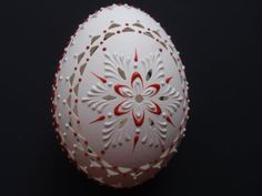 Pysanka in White and Red on Chicken Egg Carved and by EggstrArt, $34.95