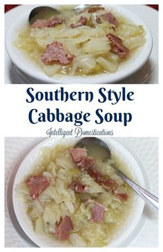 How to make Southern Style Cabbage Soup. Cabbage Soup is easy to make from scratch and a delicious stick-to-the-ribs soup for any time of the year. We call it Cabbage and Cornbread for dinner because we always serve it with cornbread. Easy Cabbage Soup, Easy Cabbage Rolls, Easy Stuffed Cabbage, Cabbage Rolls Recipe, Cabbage Soup Recipes, Pork Recipes, Protein Recipes, Copycat Recipes, Potato Recipes