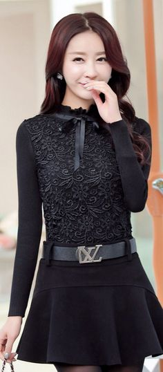 Wool and Lace Knitted Blouse YRB0603