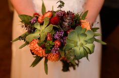 Fall bouquet with herbs, succulents and dahlias