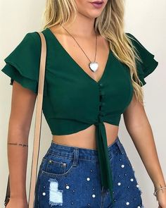 V-neck Sexy Short Sleeve Crop Blouse Shop Women's Latest Fashion Clothes . Come and Get Extra Discount. Teen Fashion Outfits, Look Fashion, Trendy Outfits, Summer Outfits, Fashion Dresses, Cute Outfits, Latest Fashion, Crop Top Outfits, Plus Size Outfits