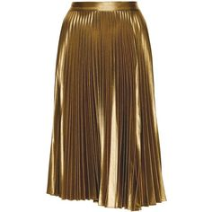 A.L.C. Metallic Pleated Gates Midi Skirt (€540) ❤ liked on Polyvore featuring skirts, bottoms, saias, faldas, pleated midi skirt, calf length skirts, midi skirt, metallic midi skirt and knee length pleated skirt