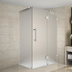 "Avalux 39"" x 30"" x 72"" Completely Frameless Hinged Shower Enclosure, Frosted Glass"