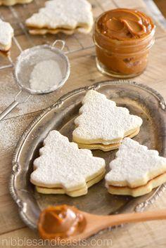 Holiday alfajores recipe with Wilton cookie cutters. Gourmet Recipes, Sweet Recipes, Cookie Recipes, Dessert Recipes, Wilton Cake Decorating, Christmas Sweets, Christmas Baking, Xmas, Argentina Food