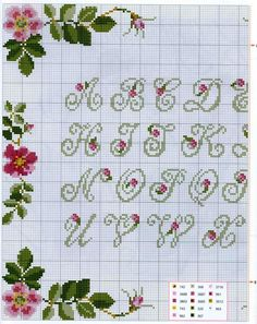 flower alphabet (charts for all letters on site) Crochet Applique Patterns Free, Cross Stitch Alphabet Patterns, Embroidery Alphabet, Cross Stitch Letters, Cross Stitch Rose, Cross Stitch Borders, Cross Stitch Samplers, Cross Stitch Flowers, Cross Stitch Charts
