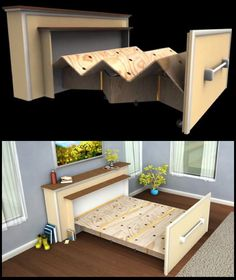Live in a tiny house? Build a DIY built-in roll-out bed DIY Pull Out Bed for small spaces: www. Living Furniture, Home Furniture, Furniture Design, Furniture Ideas, Rustic Furniture, Small Space Furniture, Bedroom Furniture, Furniture Outlet, Antique Furniture