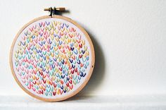 colorful hand embroidered art wishbone stitch circle