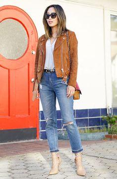 Aimee Song com Jaqueta de Suede, jeans curto e scarpin nude . adorei a produção!