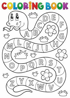 Coloring Book Snake With Alphabet Theme Stock Vector - Illustration of drawing, education: 65596159 Preschool Writing, Preschool Learning Activities, Free Preschool, Alphabet Activities, Toddler Learning, Color Activities, Alphabet Tracing Worksheets, Printable Preschool Worksheets, Kindergarten Worksheets