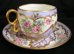 RARE ANTIQUE LIMOGES ELITE FRANCE PORCELAIN CUP & SAUCER HAND PAINTED ROSES #CupsSaucers