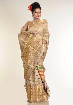 Muga silk sari for Indian Assamese brides