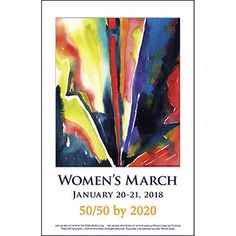 """50/50 by 2020 (www.50/50by2020.com) """"Hissy Fit""""original watercolor Download and print posters at http://www.sarasteele.com/womens-march-posters.html"""