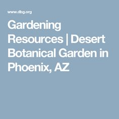 Gardening Resources | Desert Botanical Garden In Phoenix, AZ