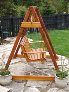 diy wood freestanding outdoor swing plans - Google Search