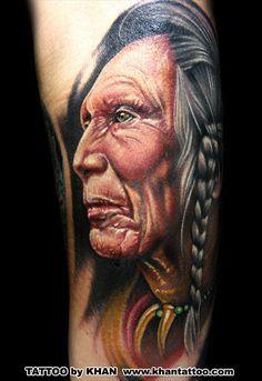 Interview with Khan Tattoo Native Indian Tattoos, Native American Tattoos, Native American Indians, Tattoo Indian, Khan Tattoo, Buenas Ideas Para Tatuajes, Body Art Tattoos, Cool Tattoos, Portrait Tattoos
